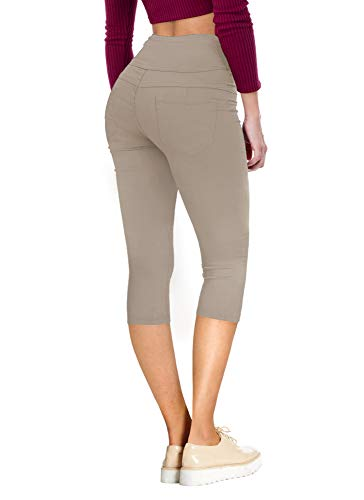 HyBrid & Company Women's Hyper Stretch Denim Capri Jeans Q45076 Khaki 9