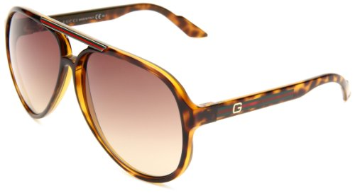 Gucci Mens 1627S Aviator SunglassesHavana FrameBrown Grey Grad LensOne Size