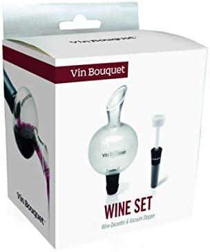Vinbouquet decantador & tapón de vacío FI 131 Set decantador y tapón, Cristal, Negro, 0 cm, 2 Unidades