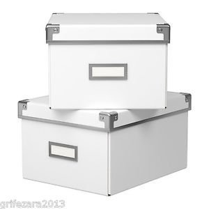 High Quality Ikea Kassett Storage Box With Lid * 2 Box Pack * (21x26x15cm) For Cd