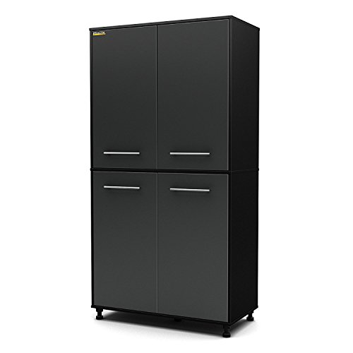 Heavy Duty Best Selling Full Size Garage Basement Black Laminate Wood Four Door Wall Storage Cabinet- Adjustable Shelving- Plastic Legs For Un-Even Floors- Scratch Resistant Durable 50 LB Shelf Weight by Ultra Max