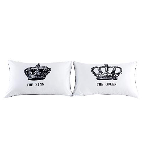 - NTBED Couples Pillowcase Pillow Covers Queen King Crown Printed Bed Pillow Cases for Lovers, Wedding Gifts (3, 19''x29'')