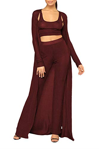 Maxi Cardigan Crop Tank Top Set