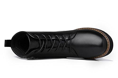 Youxuan Women's Winter Walking Short Booties Slip Resistant Girls Platform Flats Snow Boots Black 5.5M US by Youxuan (Image #3)