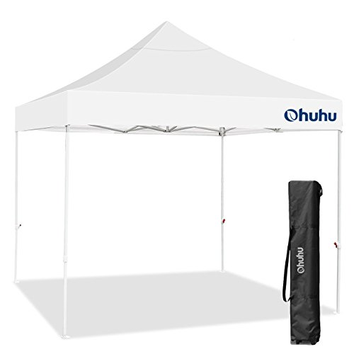 Ohuhu Pop-Up Canopy Tent - 10 x 10 ft, Instant Shelter Canopy with Wheeled Carrying Bag, White