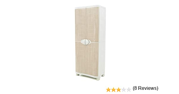 70cm de ancho x 45cm de hondo x 184cm de alto Plastiken Armario SPACE SAVER 70cm ESCOBERO con puertas imitaci/ón madera de HAYA
