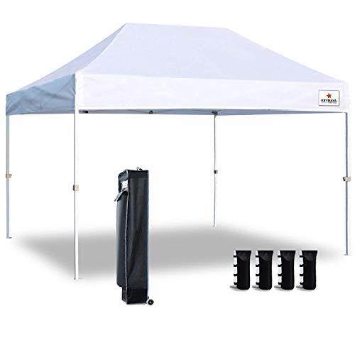 Keymaya 10 x15 Ez Commercial Instant Tent Heavy Duty Pop-up Canopy Shelter Bonus Weight Bag 4-pc Pack White