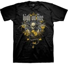 High On Fire - Camiseta - Unisex - High On Fire - Crest Uomo (Camiseta) in Nero, Size: Medium, Color: Nero
