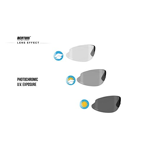 Prescription Sports Photochromic Sunglasses for Cycling Running Ski by Bertoni Italy F310A Dark Grey Sport Glasses Removable Optical Clip for Prescription Lenses