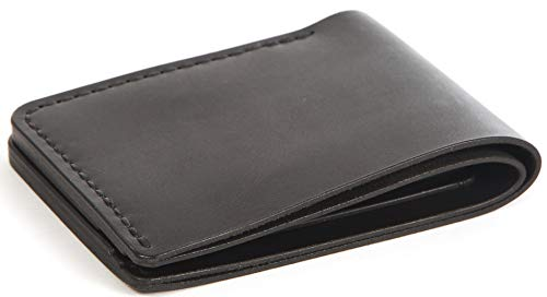 Handmade Full Grain Leather Bifold Slim Front Pocket Wallet Holder for Cash, ID and Cards (Black ID glossy)