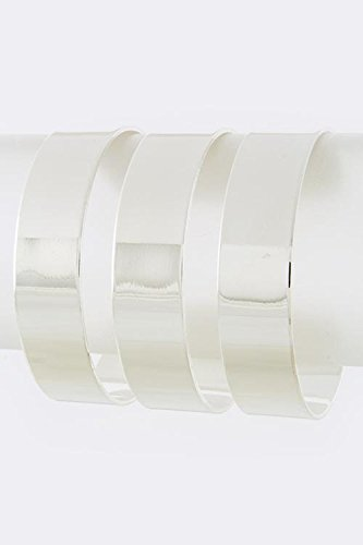 TRENDY FASHION JEWELRY RECTANGLE CUT OUT CUFF BRACELET BY FASHION DESTINATION | (Silver)