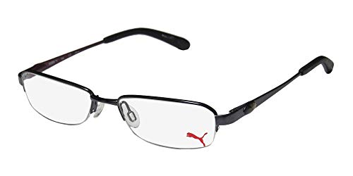 Puma 15364 Giga Mens/Womens Spring Hinges Adult Size Casual Vision Care TIGHT FIT Designed For Young Men & Women Optimal For Sports Eyeglasses/Spectacles (51-16-135, Black/Plum) (New Fashion Brillen Frames)