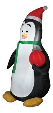 Gemmy Airblown Inflatable Penguin Wearing Santa Hat Holding A Red Ornament - Holiday Yard Decoration, 3.5-foot Tall