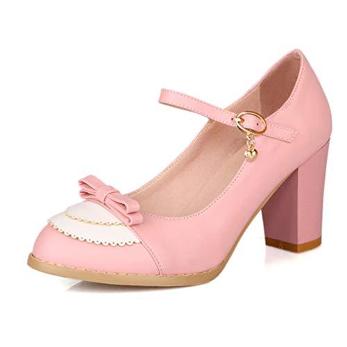 Haut Cuir 5cm Plates de Sexy Talons Rose Mariage Chaussures en Lolita Pompes Femmes Bowtie Formes Chaussures Hauteur Talons pwqUFn
