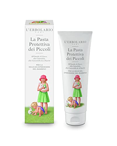 L'Erbolario - Protective Paste for Babies - with Extracts of Marigold, Chamomile and Shea Butter - Creates A Barrier for Baby's Skin - Zinc Oxide Respects The Skin's pH, 4.2 oz