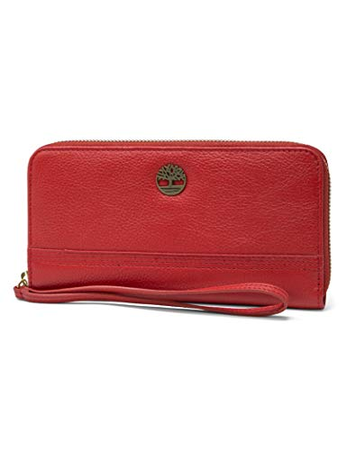 Timberland Leather RFID Zip Around Wallet Clutch with Wristlet Strap, Cherry (Pebble)