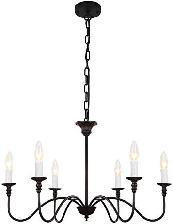 Luupyia Farmhouse Black 6-Light Chandelier Industrial Rustic Candle Pendant Lighting