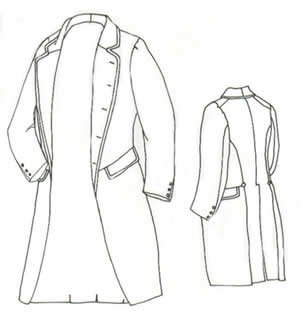 Victorian Era Mens Costumes - 1858 Single Breasted Frockcoat Pattern - Size Extra Large (52-56