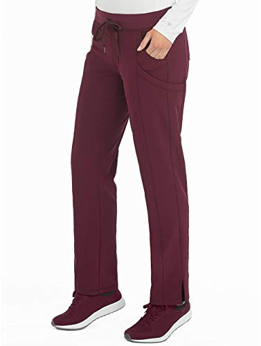 Med Couture Women's 4-Ever Flex Stretch 2 Cargo Pocket Slim Fit Scrub Pant, Wine, Small Tall Cargo Pocket Scrub Pants Wine