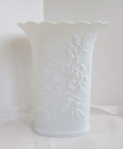 Kaiser West Germany White Bisque Porcelain Dogwood Floral Vase