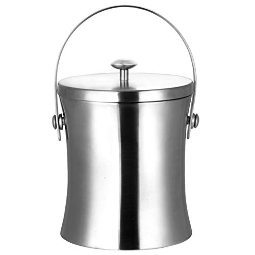 HWZGXWL Double-layer Matte Waist Insulation Ice Bucket Ice Bucket Stainless Steel Ice Bucket Insulation Bucket Champagne Bucket Household Ice Bucket (Size : 2L)