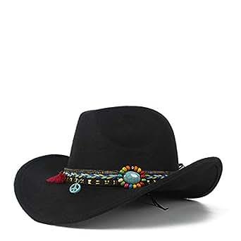 SHENTIANWEI Retro Men Women Authentic Western Cowboy Hat Wool Trilby Hat Sombrero Hat Bowler Hat Size 56-58CM (Color : Black, Size : 56-58)