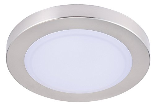 (Cloudy Bay 7.5 inch LED Mini Flush Mount Ceiling Light 5000K Day Light Dimmable 12W 840lm -100W Incandescent Fixture Equivalent,LED Flush Mount for Bathroom Hallway Entry, Wet Location)