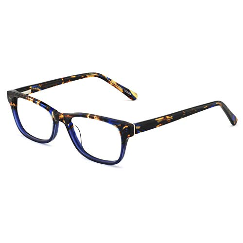 (OCCI CHIARI Rectangle Stylish Non-prescription Optical Women Eyewear Frame With Clear Lens (4090-Blue(Anti-Bluelight)))