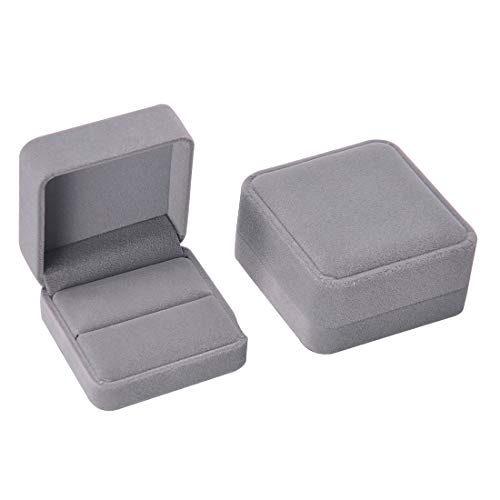 iSuperb Set of 2 Gray Velvet Couple Double Ring Box Earring Jewelry Case Gift Boxes 2.7x2.7x1.6inch