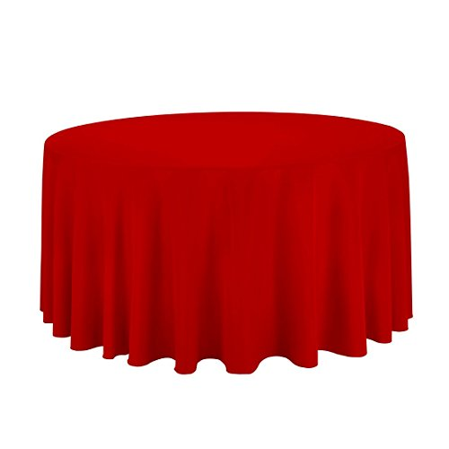 LinenTablecloth 120-Inch Round Polyester Tablecloth - Linen Red