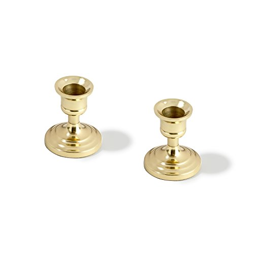 LampLust Brass Finished Taper Candle Holders, 3 Inches, Metal, Traditional Shape, Fits Standard Candlestick Diameters - Set of 2