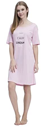 "(5004VR) Rampage Keep Calm Dream On"" Foil Print Cotton Jersey Night Shirt (Small-3X) in Pink Size: 3X"