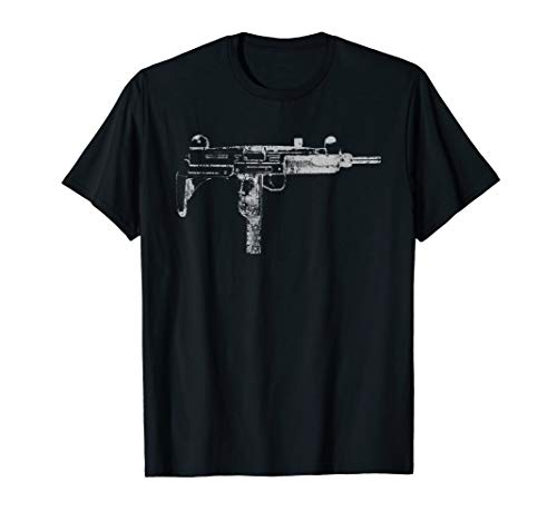 Uzi 9MM Submachine Gun Machine Pistol Distressed T Shirt ()