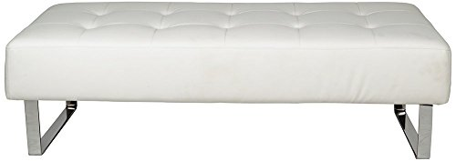 Whiteline Modern Living BN1085P-WHT Miami Faux Leather Bench with Chrome Frame, White by Whiteline Modern Living