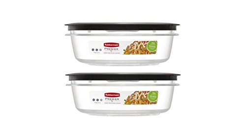 Rubbermaid Premier Clear Tritan Plastic 9 Cup Shatterproof and Resist Stains and Odors Food Storage Container,2-Pieces (Rubbermaid Stackable Baskets)