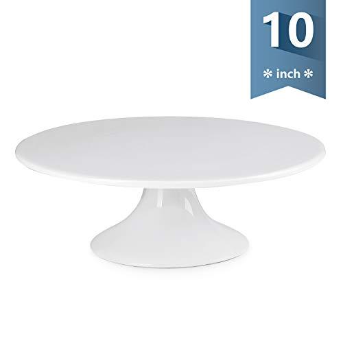 Sweese 708.101 10-Inch Porcelain Cake Stand, Round Dessert Stand, White Cupcake Stand for Parties (White Stand Pedestal Cake Porcelain)