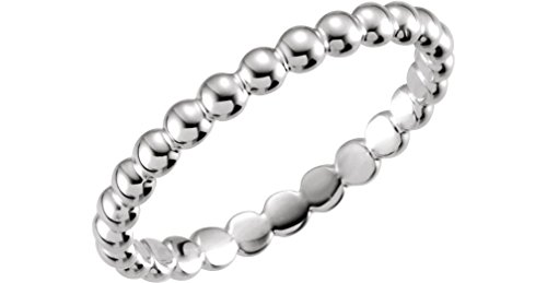 Platinum Granulated Bead 2.5mm Stackable Band, Size 7 by The Men's Jewelry Store (for HER)