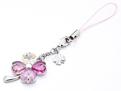 Cell phone Strap 027 four-leaf clover - Gradation(Pink3+Crystal - Charm Cell Phone Swarovski Crystal