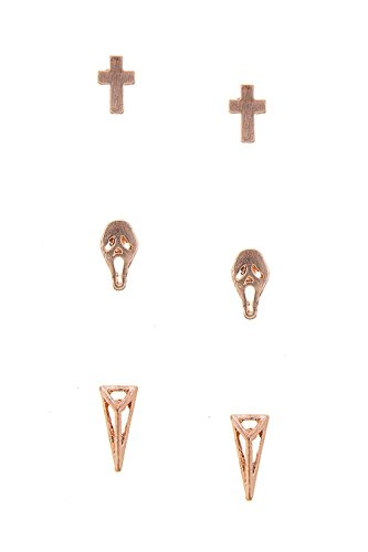 KARMAS CANVAS MINI CROSS SKULL PYRAMID STUD EARRINGS SET (Rose Gold) (Pyramid Rainbow Stud)