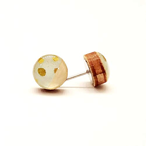 Half mint with gold dots and half natural wood stud earrings wood earrings 8mm Handmade