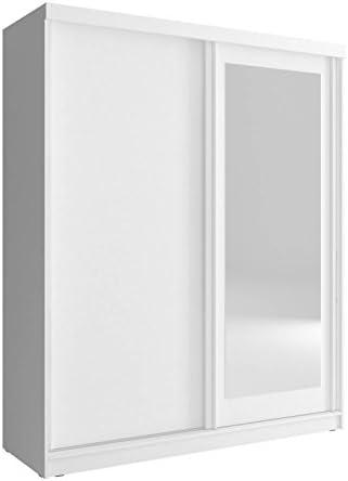 Meublo Armoire Penderie Avec 2 Portes Coulissantes Et Miroir L X H X P 150x200x62 Mono 150 Blanc 150 Cm