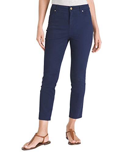 Cotton Sateen Ankle Length Pant - Chico's Women's Sateen Slim Crops- 24 Inch Inseam Size 0/2 XS (00) Blue