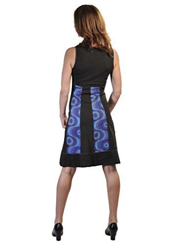 vestito bolle con Estate scollo stampa Nero donna senza a da Embroidery con maniche a V e wY7qT7RB