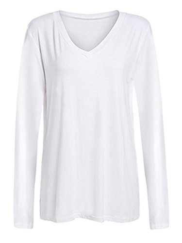 ROMWE Women's Loose Tee Long Sleeve V Neck T-shirt Casual Top White XXL