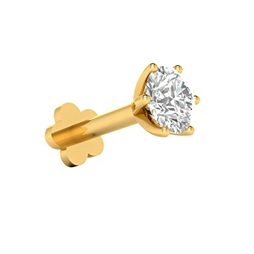 Demira Jewels 0.16 Ct Diamond 14k Gold Wedding Solitaire Nose Lip Labret Piercing Ring Stud Screw (Stud Labret Diamond)