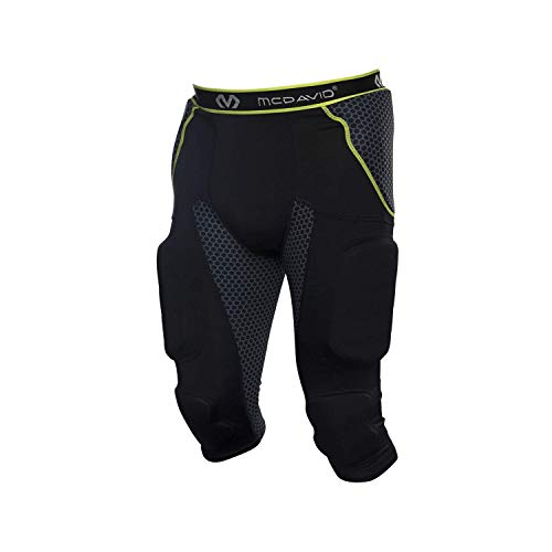 McDavid MD7418 Rival Intg 7 Pad 3/4 Pant Football Girdles, Large, Black/by