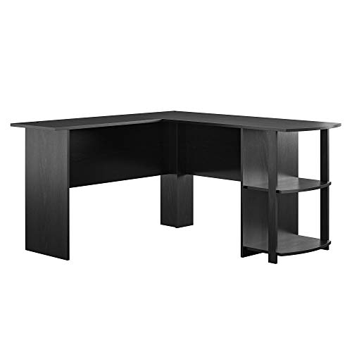 AmazonBasics Classic L-Shaped Desk with Open Bookshelves, Black, BIFMA Certified