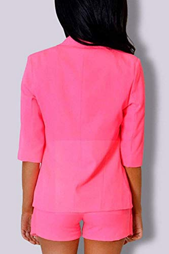 Manica Fit Tailleur Pink Monocromo Business Da Autunno 3 Outwear Chic Bavero Slim Blazer Giovane Donna Giacca 4 Irregular Cappotto Moda KqRHXUwfY