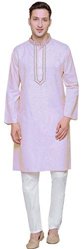 Maple Clothing Cotton Embroidered Mens Kurta Pajama India Clothes (Purple, XL)