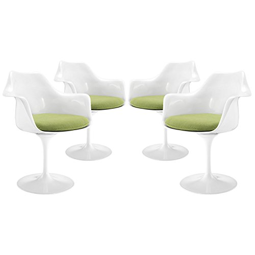 Modway EEI-1260-GRN Lippa Modern Dining Armchairs with Fabric Cushion-Set of 4, Green
